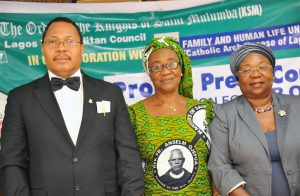 Knights of Saint Mulumba, Lagos Metropolitan Grand Knight,  Dr. Charles Mbelede;  Ladies of Saint Mulumba (LSM), Financial Secretary, Lagos Metropolitan Council, Lady Bridget Edoro; Pro Life Consultant, Dr. (Mrs) Henrietta Williams (Representative of Family and Human Life Unit, Catholic Archdiocese of Lagos) at a Press Conference  to signpost the 2016 Vigil on abortion by Knights of Saint Mulumba, on Thursday, September 8, 2016
