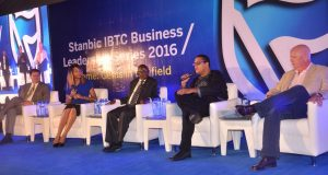 Chief Executive Officer, John Deere Financials, Jason Brantley; Panel Discussion  moderator and Head, Marketing and Communications, Stanbic IBTC, Nkiru Olumide-Ojo; Head, Agriculture Finance, Stanbic IBTC Bank, Jerry Gushop; Managing Director, Doreo Partners, Kola Masha; and Eco-Entrepreneur/Managing Director, AgriProtein, Jason Drew during the panel discussion