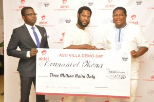Director, Brand & Advertising, Enitan Denloye flanked by co-founder of Tracology, Abiodun Adeyeye (left) and Founder of Tracology, Emmanuel Okena at the prize presentation to winners of the Aso Villa Demo Day initiative at Airtel Headquarters on Friday in Lagos.