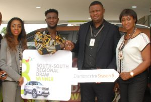 Soala Inyang, Area Manager, Port-Harcourt II, Diamond Bank plc; Omoregie Imariabe Austin, DiamondXtra, South-South SUV Winner; Festus Erewele, Area Manager, Benin; and Judith Anolefo, Branch Manager, Aba Road Branch, Port-Harcourt, all of  Diamond Bank Plc at the DiamondXtra South-South Prize giving Ceremony held in Port-Harcourt recently.