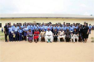 L-R: A Staff of Diamond Bank ,Samuel Kor, (In the Middle) Vice Principal of  Ibeku High School, Umuahia, Mr. Ukanwoko and Business Manager, Diamond Bank, Umuahia Area, Uzoma Enyinnaya