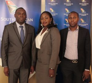 L-R: Ohis Ehimiaghe, Regional Manager, North, West & Central Africa; Kemi Leke-Bamtefa, Head, Sales & Marketing and Jimi Ayodabo, Sales Executive all of South African Airways during the media lunch announcing SAA new A330-300 aircraft on the Lagos-Johannesburg route.