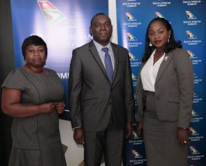 L-R: Stella Aghedo, Sales Executive; Ohis Ehimiaghe, Regional Manager, North, West & Central Africa and Kemi Leke-Bamtefa, Head, Sales & Marketing all of South African Airways during the media lunch announcing SAA new A330-300 aircraft on the Lagos-Johannesburg route.