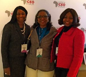Ibukun Awosika (middle), Chairman, First Bank of Nigeria Limited, flanked by Folake Ani-Mumuney (left), Group Head, Marketing and Corporate Communications, FirstBank, and Bashirat Odunewu (right), Group Executive, International Banking Group, FirstBank at the African CEO Forum 2017 in Geneva.