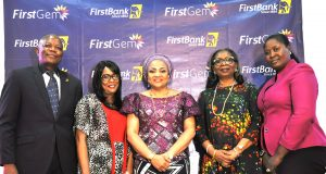 L-R: Group Head Public Sector, FirstBank, Mr. Timothy Arowoogun; Honorable Member of Oyo State House of Assembly, Mrs. Bolanle Agbaje; Wife of Oyo state Governor, Mrs. Florence Ajimobi; Chairman, Board of Directors, FirstBank, Mrs. Ibukun Awosika; and Honorable Member of the Oyo State House of Assembly, Mrs. Olawunmi Oladeji at the Oyo State Women Empowerment Summit in collaboration with FirstBank's FirstGem in Ibadan…Tuesday.