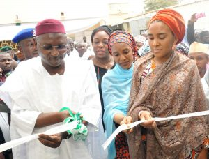 L-R ,Kano State Deputy Governor, Prof. Hafees Abubakar, Managing Director   Dangote Foundation,Zouera Youssoufou, Executive Director , Strategy Analyst,Corporate Strategy,  Dangote  Industries Ltd,Mariya Dangote, Executive Director, NASCON Allied Industries Plc, Fatima Dangote,    Commissioning and Handover Ceremony of Dangote Foundation'sQuick Intervetion at the Murtala Mohammed Specialist Hospital Kano, on25th Feb.2017