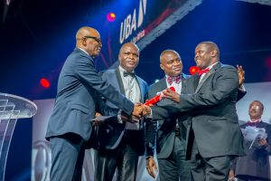 CEO, UBA Francophone Africa, Mr. Emeke Iweriebor; Executive Director, Lagos and West, Mr Ayo Liadi ; CEO, UBA Anglophone Africa, Mr. Oliver Alawuba; Award Winner and MD/CEO, UBA Tanzania, Mr. Peter Makau, at the Annual  UBA CEO Awards which was held in Lagos at the weekend