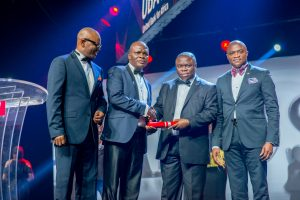 l-r: CEO, UBA Francophone Africa, Mr. Emeke Iweriebor; Executive Director, Lagos and West, Mr Ayo Liadi ; Award Winner and MD/CEO, UBA Cameroun, Mr. Isong Udom; and CEO, UBA Anglophone Africa, Mr. Oliver Alawuba; at the Annual  UBA CEO Awards which was held in Lagos at the weekend