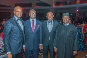 GMD/CEO, UBA Plc, Mr. Kennedy Uzoka; Deputy Senate President, Sen. Ike Ekweremadu; Group Chairman, UBA Plc, Mr. Tony Elumelu; Governor of Adamawa State, His Excellency Bindow Jibrilla, at UBA CEO Awards which was held in Lagos at the weekend