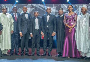 At UBA's 2017 CEO Awards ceremony held in Lagos this past weekend: Governor of Bauchi State, His Excellency, Mohammed Abdullahi Abubakar ; Deputy Senate President, Sen. Ike Ekweremadu; GMD/CEO, UBA Plc, Mr. Kennedy Uzoka; UBA CEO awardee, Mr. Ibrahim Ogbonago; Group Chairman, UBA Plc, Mr. Tony Elumelu; Governor of Adamawa State, His Excellency Bindow Jibrilla ; Directors, UBA Plc, Mrs. Onari Duke and Alhaji Ja'afaru Paki, during the presentation of UBA CEO Awards for Excellence to Mr. Ogbonago, a UBA Security Guard who returned a lost and found amount of $,10,000 belonging to a customer