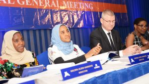 L-R: Director, NASCON Allied Industries Plc, Halima Dangote; Executive Director Commercial, NASCON Allied Industries Plc, Fatima Dangote; Managing Director, NASCON Allied Industries Plc, Paul Farrer; and Chairperson, NASCON Allied Industries Plc, 'Yemisi Ayeni at the NASCON Allied Industries Plc 2016 Annual General Meeting (AGM) held on Thursday, May 4, 2017 in Lagos.