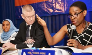 L-R: Executive Director Commercial, NASCON Allied Industries Plc, Fatima Dangote; Managing Director, NASCON Allied Industries Plc, Paul Farrer; and Chairperson, NASCON Allied Industries Plc, 'Yemisi Ayeni at the NASCON Allied Industries Plc 2016 Annual General Meeting (AGM) held on Thursday, May 4, 2017 in Lagos.