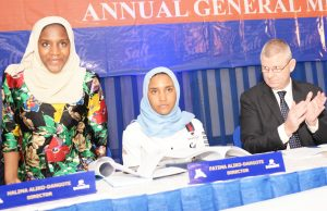 L-R: Director, NASCON Allied Industries Plc, Halima Dangote acknowledging the greetings of the shareholders while Executive Director Commercial, NASCON Allied Industries Plc, Fatima Dangote and the Managing Director, NASCON Allied Industries Plc, Paul Farrer looks on with interest, at the company's Annual General Meeting (AGM) held recently in Lagos