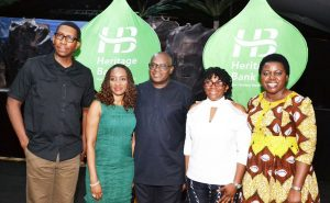 L-R: Head, Content and Digital Communication, Heritage Bank, Chubike Agu; Group Head, Oil and Gas, Heritage Bank, Afolasade Alonge; Principal Partner, George Etomi and Partners, George Etomi; Convener, One Language, Elo Inyeineryi-Etomi; Team Member, Brand Management and Compliance, Heritage Bank,  Ozena Utulu, during the One Language dance performance, sponsored by  Heritage Bank in Lagos, at the performance, sponsored by  Heritage Bank in Lagos, weekend