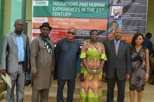 Chair, LOC and Head of Unit, Department of History and Strategic Studies/Philosophy, Federal University Ndufu-Alike, Ikwo Ebonyi State (FUNAI), Dr. Arua Omaka; Member LOC, FUNAI, Slyvanus Oko; Guest Speaker and Professor, Marquette University, USA, Prof Chima J. Korieh; Dean, Faculty of Humanities, FUNAI, Prof GMT Emezue; CEO, Heirs Holdings, Emmanuel Nnorom representing the Guest Speaker and Founder, Tony Elumelu Foundation, Tony O. Elumelu; Chair, Faculty of Humanities PR/Information Committee Ms. Ngozi Edeagu at FUNAI's 2017 Faculty of Humanities International Conference held at the University's Auditorium in Ndufu-Alike, Ikwo Ebonyi State on Tuesday